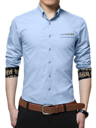 Picture of Men's Shirt Faddish Long Sleeve Business Chic Style Shirt - L