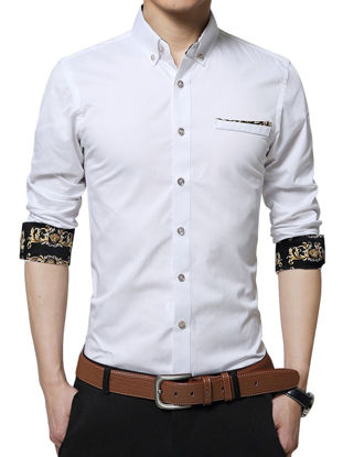 Picture of Men's Shirt Faddish Long Sleeve Business Chic Style Shirt - M