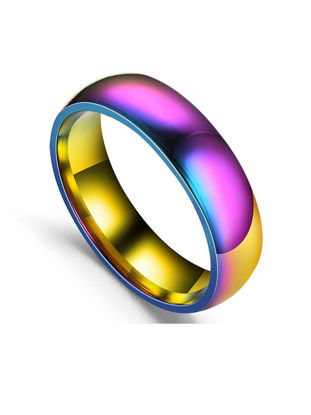 Picture of Men's Personality Colorful Ring Round Shaped Stainless Steel Ring Accessory - 9