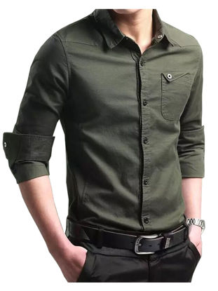 Picture of Men's Cotton Long Sleeve Shirt Simple All Match Solid Slim Shirt - XL