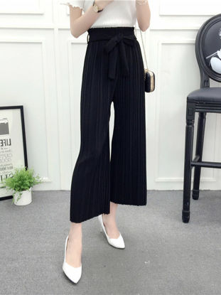 Picture of Women's Casual Pants Solid Color High Waist Wide Leg Pants - S