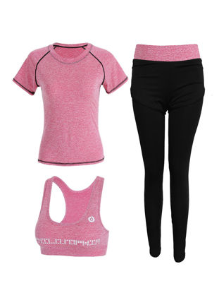 Picture of XLGS 3 Pcs Women's Sports Set Fashion Comfy Summer Yoga Fitness Clothing Set - S