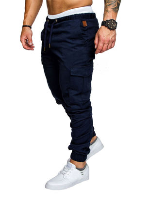 Picture of Men's Casual Pants Top Fashion Sports Style Elastic Waist Solid Color Pants - 3XL