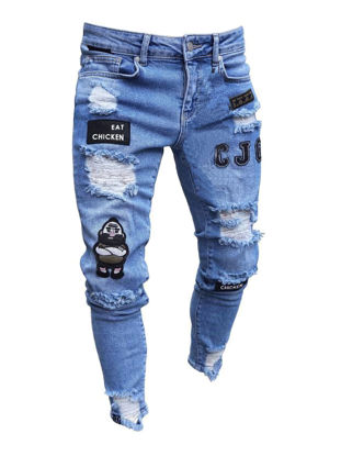 Picture of Men's Jeans Frayed Decoration Letter Pattern Mid Waist Jeans - XXL