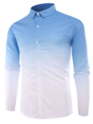 Picture of Men's Shirt Turn Down Collar Long Sleeve Color Block Slim Fashion Top - L