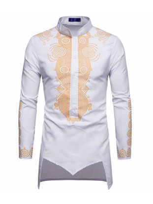 Picture of Men's Shirt Stand Collar Long Sleeve Floral Slim Long Top - L