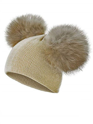 Picture of Baby Hat B Solid Color Detachable Warm Winter Wool Hat Beanie - One Size