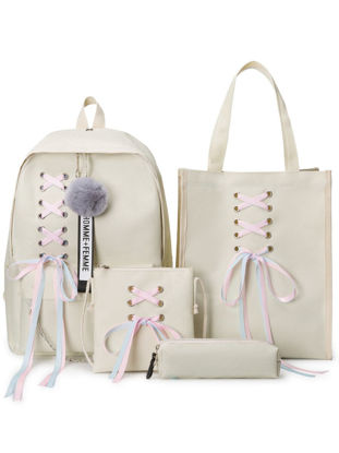 Picture of 4Pcs Students Backpack Set Simple Design Fashion Style School Leisure Bags - One Size