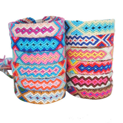 Picture of 12 Pcs/Set Women's Woven Bracelets Colorful Elasticated Ladylike Bracelets Accessory - One Size