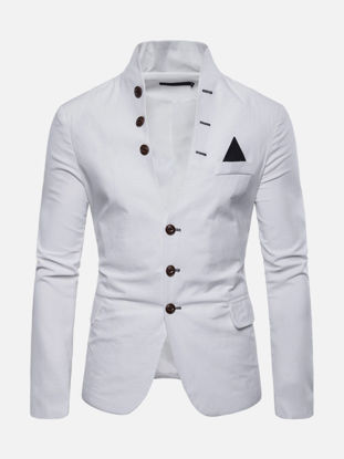 Picture of Men's Blazer Stand Collar Buttons Design Long Sleeve Slim Casual Blazer - XL