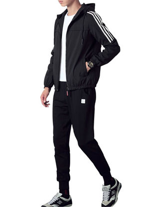 Picture of Men's 3Pcs Fitness Clothing Set Casual Sports Long Sleeve Top Jacket Pants Set - XL