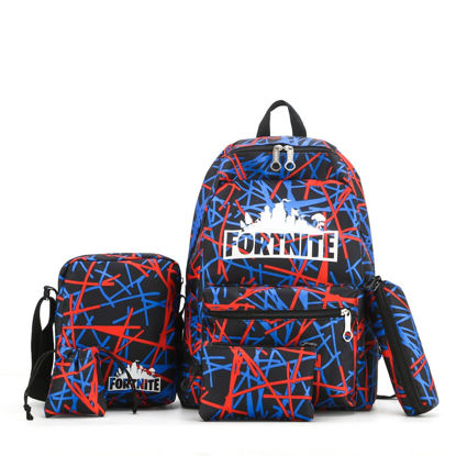 Picture of 5Pcs Men's Backpack Set Letters Print Preppy Causal Bags Set - One Size