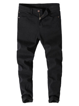 Picture of Men's Jeans Solid Color Mid Waist Straight Jeans - 38