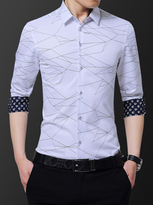 Picture of Men's Shirt Print Turn Down Collar Button Top - L