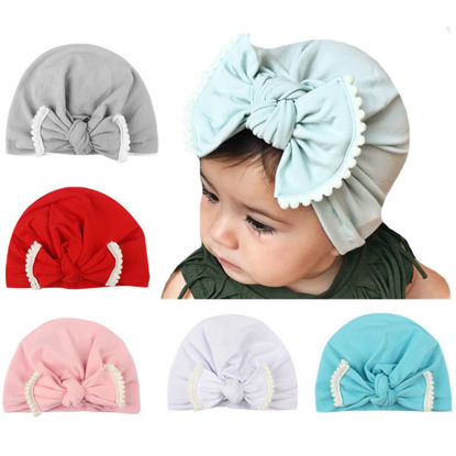 Picture of 4 Pcs Baby's Hats Lace Bow Knot Pure Color All Match Cute Hats - One Size