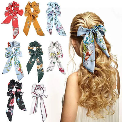 Picture of 3 Pcs Women's Hair Elastics Ribbon Design Print Ladylike Fashion Hair Accessory - One Size