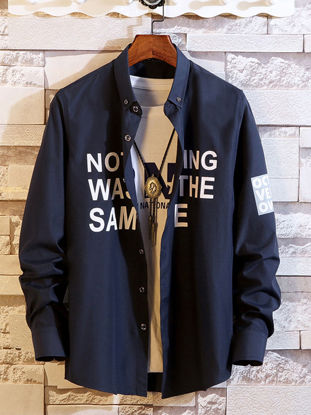 Picture of Men's Shirt Loose Letter Print Long Sleeve Fashion Top - L
