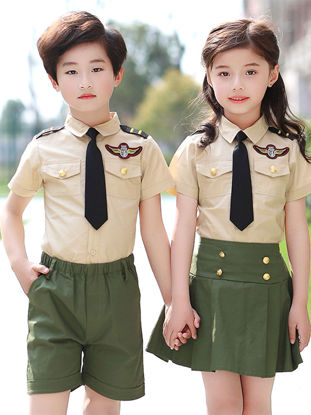 Picture of Family Outfits Brother&Sister Set Short Sleeve Preppy Style Chic Fashion Set - Reference Height:110cm