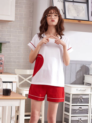 Picture of Couple's Pajamas Set Color Block Short Sleeve Home Shorts Sleepwear - Women L