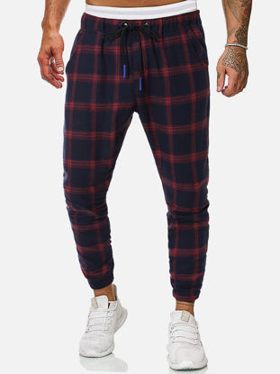 Picture of Men's Casual Pants Ankle-Tied Drawstring Color Block Plaid Loose Trousers - M