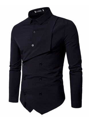 Picture of Men's Shirt Long Sleeve Solid Color Button Decor Fashion Top - XXL
