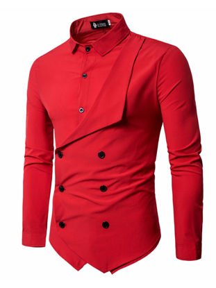 Picture of Men's Shirt Long Sleeve Solid Color Button Decor Fashion Top - XL
