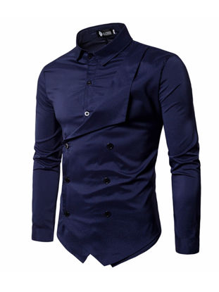 Picture of Men's Shirt Long Sleeve Solid Color Button Decor Fashion Top - 3XL