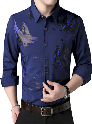 Picture of Men's Shirt Turn Down Collar Print Long Sleeve Top - XL