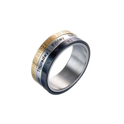 Picture of Men's Ring Letter Pattern Rotating Accessory - 9