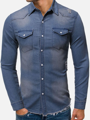 Picture of Men's Shirt Turn Down Collar Long Sleeve Fashion Solid Color Slim Denim Top - L