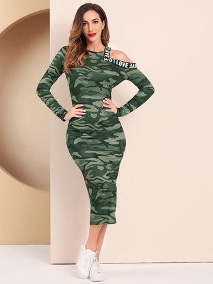 Picture of Women's Pencil Dress O Neck Long Sleeve Camouflage Hollow Shoulder Dress - XL
