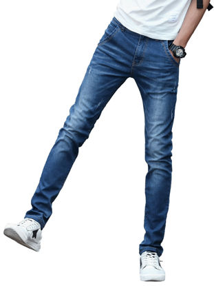 Picture of Men's Jeans Slim Stretch Casual Solid Denim Pants Without Belt - 34