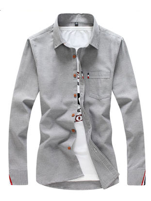 Picture of Men's Shirt Long Sleeve Cotton Blends Solid Color All Match Shirt - XL