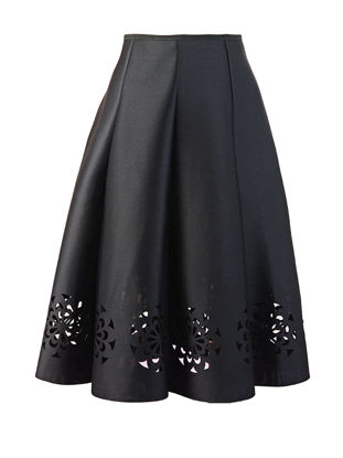 Picture of Women's A Line Skirt Solid Hollow Out Sweet Skirt - Free