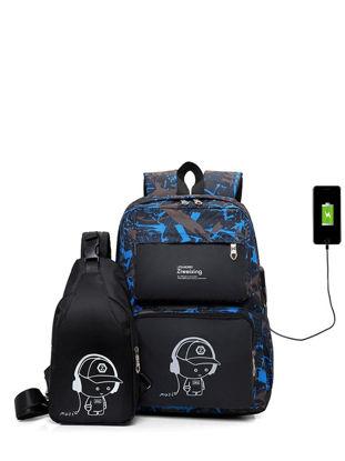 Picture of 2 Pcs Men's Backpack  School High Quality Outdoor Backpack - Free