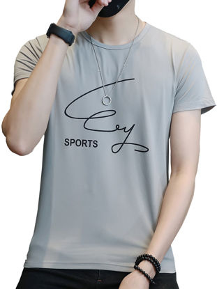 Picture of Men's T Shirt Letter Pattern Round Neck Short Sleeve All Match Fashion Top - M