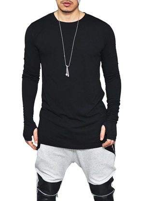 Picture of Men's T Shirt Solid Color Zipper Irregular Design Long Sleeve Causal Fashion Top - XL