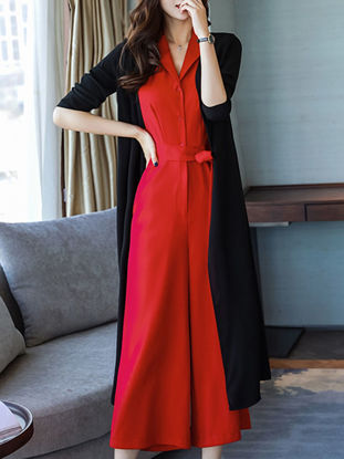 Picture of Women's Jumpsuit Long Sleeve Turn Down Collar High Waist Wide Leg Jumpsuit - XXL