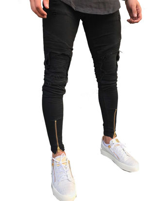 Picture of Men's Jeans Frayed Design Solid Color Pocket Casual Street Fashion Jeans - 36