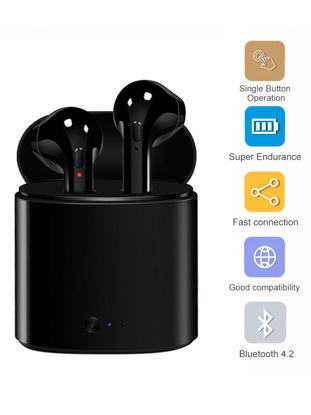 Picture of Mini Bluetooth Earphones Wireless Noise Reduction Dual Ears Headphones With Charging Box Black - Free