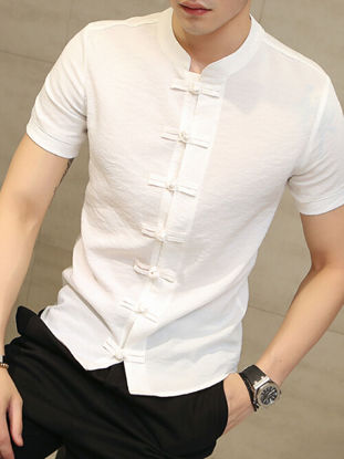 Picture of Men's Traditional Short Sleeve Short Single Frog Breasted Casual Slim Shirt - L