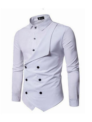 Picture of Men's Shirt Solid Color Long Sleeve Stand Collar All Match Fashion Top - M