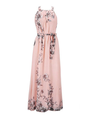 Picture of Women's Aline Dress Plus Size Floral Pattern Sleeveless Maxi Long Dress With Sash - XXL