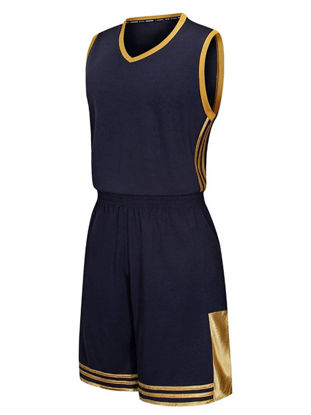 Picture of Men's Basketball Training Set Plus Size Sleeveless V Neck Color Block Casual Sports Set - XL
