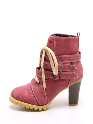 Picture of Women's Martin Boots Lacing Design High Thick Heel Vintage Style Shoes - 36