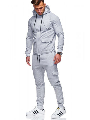 Picture of 2 Pcs Men's Pants Set Sports Quick Drying Anti-Friction Comfy All Match Leisure Classic Set - L