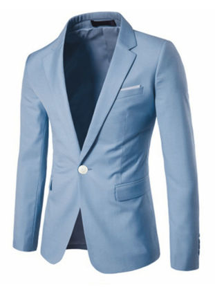 Picture of Men's Blazer Notched Collar Long Sleeve Solid Color Slim Blazer - XL