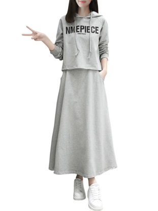 Picture of Women's 2Pcs Front Pockets Letter Pattern Hoodie A Line Maxi Long Skirt - L