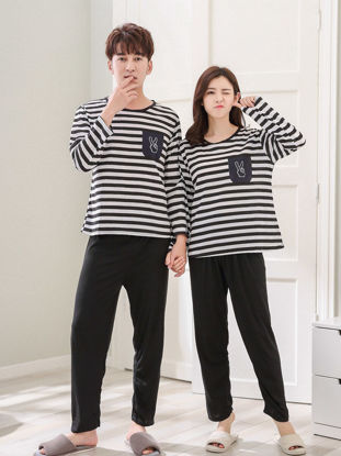 Picture of Couple's Pajama Set O Neck Long Sleeve Striped Comfy Casual Home Pants Suit - Men XL