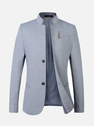 Picture of Men's Blazer Stand Collar Long Sleeve Solid Color Slim Blazer - 3XL